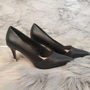 Aldo Black Leather Stiletto Heel Pointed Toe Pumps